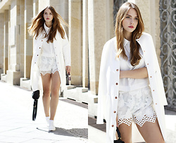 Dominique B. - Tamaris Shoes, Gina Tricot Long Bomber Jacket - Total White again