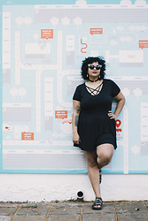 Camilla Soares - Ui Gafas Cat Sunglasses, Neko Queer Feminism Symbol Choker, Wear Ever Pentagram Romper, Cherry By Boaonda Jelly Sandals - I DON'T WANNA FEEL BLUE ANYMORE