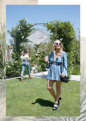 Sandy Joe Karpetz - Aldo Nathalia Suede Platform Sandals, Tom Ford Lipstick, Eyebuydirect Round Sunglasses, Vintage Head Scarf, Vintage Western Studded Belt, Kate Spade Penelope Leather Bag, Guess Chambray Shorts, Guess Chambray Bell Sleeve Mini Dress - ZOEasis