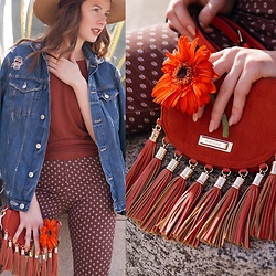 Ms. Morgan Ryan - Rich Honey Apparel Basic Tee, River Island Fringe Purse, Zara Distressed Denim Jacket, H&M Cigarette Pant - | LAZY D A I Z Y |