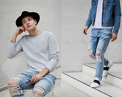 Patrick Pankalla - Calvin Klein Sweater, H&M Denim Jacket, H&M Denim Jeans, Valentino Open Sneakers - Calvin Klein #THE2OFUS