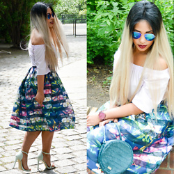 Chiara Culture With Coco - Closet London Off The Shoulder Top, Closet London Flared Floral Midi Skirt, Go Jane Pastel Heels, No. 21 Turquoise Round Bag, Ray Ban Rainbow Green Blue Sunglasses, Jord Watches Cork Wood Watch - Floral Parrot