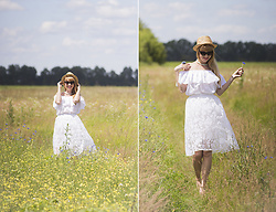 Julia F. - Orsay Straw Hat, Asos Cateyes, Asos Necklace, Wholesalebuying Lace Skirt - In the field
