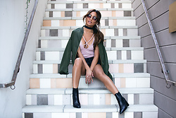 Jessi Malay - Express Olive Bomber Jacket, Express Low Rise Black Frayed Denim Shorts, Express One Eleven Strappy Front Bodysuit, Express Blush Round Sunglasses - Bomber Jacket #2