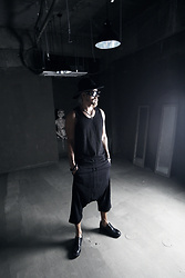 INWON LEE - Byther Studded Sunglasses, Byther Punch Hole Grunge Looking Sleeveless Shirt, Byther Black Color Shin Length Baggy Fit Pants - Classic Studded Gothic