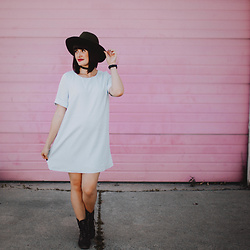 Cecilia H - Tobi Baby Blue Shift Dress, Nickel & Suede Choker, Daniel Wellington Watch - Baby Blue