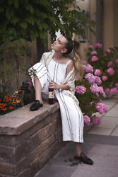 Hristina Micevska - Asos Striped Overall, Gucci Black Slippers - DARE TO BE UNIQUE
