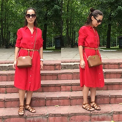 Olga T. - Mango Dress, Michael Kors Bag - Red dress and brown accessory