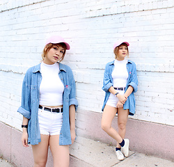 Leanne A - Ltrain Vintage Denim Button Down, H&M White Shoes - That Lil Pink Hat