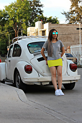 Karen Cardiel - Forever 21 Yellow Pencil Skirt, Pull & Bear Fake Alien Gray Tshirt, Nike Air Forte, Green Sunglasses - Fake Alien