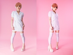 Lovely Blasphemy - Cyperous Wig Peach Short, Bodyline Nurse Dress, Jeffrey Campbell Shoes Patent Pink Mulder Boots, Sony White Headphones - White x Peach
