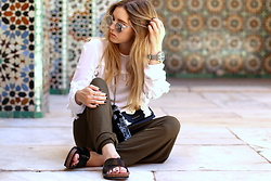 Fashiontwinstinct - H&M Pom Pom Blouse, H&M Pants, Givenchy Cross Body Bag - Marrakesh OOTD: Medersa Ben Youssef.