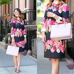 Jenn Lake - Vince Camuto Collared Floral Shift Dress, Strathberry Pink Midi Tote, Illesteva Mirrored Milan Iv Sunglasses, Movado Rose Gold Edge Watch, Steve Madden Skales Caged Sandals - Pink Floral Dress with Collar