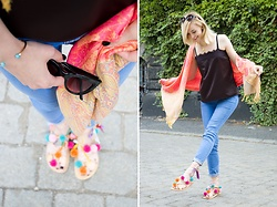 Joanna B - Hand Made By Me Sandals, United Colors Of Benetton Top, Gyalmo Shawl - Juicy Summer