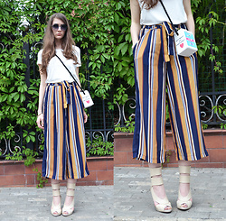 Alexandra M. - Striped Culottes, River Island Nude Heels, Milk Little Bag - Milk