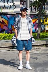 PJ Chen - Gu Denim Cap, Vintage Sunglasses, Ovklab Stripes Tee, Taki Check Coat, Nautica Denim Shorts, Ralph Lauren Socks, K Swiss Sneakers, Leather Wristband - 20160620