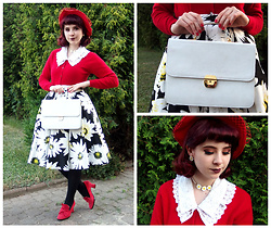 Lacy Dottie - Vintage Hat, Vintage Cashmere Cardigan, Vintage Bag, Mohito Daisy Skirt, Kenneth Cole Red Heels, New Look Daisy Necklace - Summer in cashmere