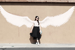 Elizabeth T - Yesstyle Live Your Dream Chiffon Top, Yesstyle Black Midi Skirt, Kate Spade Wellesley Alessa, Nike Roshe One, Polette Avenger Sunglasses - Spread Your Wings & Fly