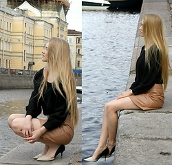 Gerda Orlova - Vintage Blouse, Modis Leather Skirt, Zara Shoes - Help you fly