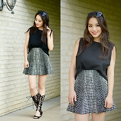 Kimberly Kong - Karmaloop Cut Off Tank, Bcbg Fluted Bandage Skirt, Deb Gladiator Heels, Freyrs Cat Eye Sunglasses - Crazy About Cut-Off Tanks