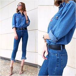 Anastasiia G - Vintage Denim Shirt, Mango Jeans With Fringe, Terranova Belt, F&F Nude Heels, Casio Watch, Gate Wooden Sunglasses - All Denim