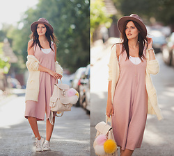Viktoriya Sener - Catarzi Hat, Romwe Jumpsuit, Romwe Cardigan, Adidas Trainers, Mango Backpack - PINK & YELLOW