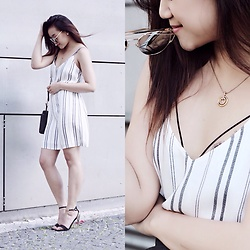 Janiie Pham - Bershka Striped Dress, Swarovski Gold Necklace, Boutique Black And Gold Ankle Strap Heels - Into stripes