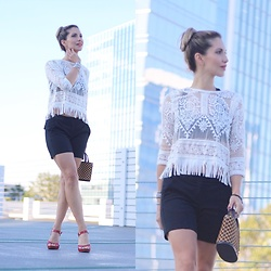 Vanessa Berlin - Jolly Chic Lace Top, Theory Shorts, Guess Shoes, Louis Vuitton Bag - Black & White