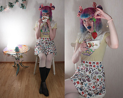 Lindwormmm - Hello Sweetie Store Team Rocket Print Skirt, Thrifted Butterfree Pokémon Shirt, Thrifted Doll Collar, Picnic Bow, White Tights, Striped Socks - Cup of Tea wit Pocket Monsters