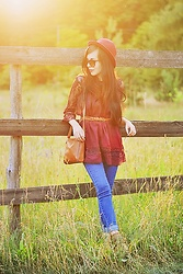 Ania W. - Sheinside Blouse, Fiorelli Bag - Burgundy and blue