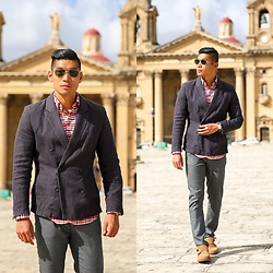 Leo Chan - H&M Double Breast Unconstructed Cotton Blazer, Zara Pants, Nordstrom Suede Double Monk Strap Shoes, Black Fleece Brooks Brothers Pattern Button Down Shirt, Ray Ban Ray Ban Sunglasses, Daniel Wellington - Walled City - Valletta, Malta