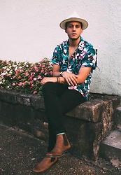 Wes Lambert - Thrift Store Hawaiin Shirt, Goorin Brothers Straw Hat, Asos Chelsea Boots, Topman Black Jeans, H&M Bracelets, Timex Watch, Thrift Store Gold Chain - Aloha Broha