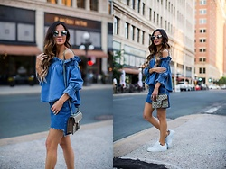 Maria Vizuete - Asos Blue Top, Topshop Denim Skirt, Adidas Sneakers - TRENDING: SUMMER DENIM.