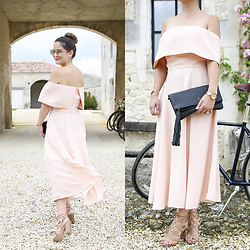Jenn Lake - Asos Pink Off The Shoulder Dress, Quay Rose Gold Mirrored Sunglasses, Gigi New York Black Tassel Clutch, Movado Rose Gold Edge Watch, Sam Edelman Tan Suede Lace Up Sandals - Off the Shoulder Pink Midi Dress