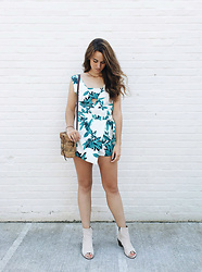 Tonya S. - State Of Being Tropicana Playsuit, Shoes.Com Matisse Boots, Vintage Basket Bag - Tropics