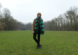 Virginia Moon - H&M Brown Coat, H&M Green, Yellow And Black Plaid Scarf, H&M Black Leggings, H&M Multi Colored Beanie, H&M Dark Grey Top, H&M Black Combat Boots - Amsterdamse Bos