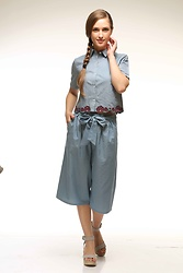 Nidhi.s - Shiflee Classic Casual Denim Crop Shirt, Shiflee Tie Waist Elasticated Denim Culottes - Denim shirt denim culottes....shop the look @shiflee