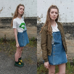 Alba Granda - Stradivarius Green Army Bomber, Zara Denim Dress, Deal Sale White Tee Lips, Dr. Martens Green Boots - Old School