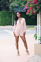 Brittany B - Nasty Gal Choker Necklace, Motel The Millicent Romper, Lola Shoetique Single Lady Sandals In Nude - Pink Motel