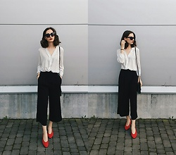 Daria Moysa - Zara Culottes, Next Pumps, Atmosphere Blouse - A little bit french