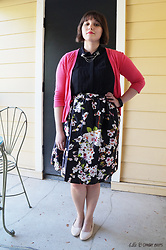Gina S. - Choies Cherry Blossom Skirt, H&M Scallop Flats, H&M Sleeveless Blouse, Gap Cardigan, Dapper & Swag Bee Collar Pins - Blossoms & bees.