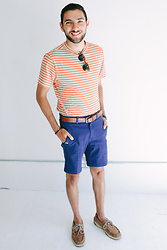 "Hector Diaz - Yajoe Ada Striped Tee, Yajoe Blue 8"" Bit Shorts, Club Monaco Leather Belt, Sperry Topsider Boat Shoes, Topman Shades - 3 Moods for Summer x YaJoe: Beachy Look"