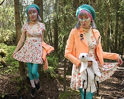 Lindwormmm - Floral Dress, Poola Kataryna Peach Floral Dress, Black Milk Clothing Sea Foam Mermaid Leggings, Thrifted Seal Plush Backpack, Thrifted Turquoise Beret, Ivana Helsinki Knife Brooch, Black Milk Clothing Unicorn Badge, Neon Peach Jeans Jacket, Thrifted Umbrealla Brooch - Of Monsters and a Peach