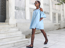 Rachel O. - Chic Wish Off Shoulder Chambray, Migato Knee High Gladiators - Chambray Dress + Gladiators