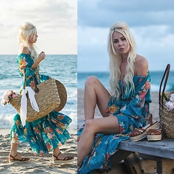 Sarah Loven - Spell Designs Off Shoulder Maxi Dress, Target Straw Bucket Bag, Qupid Espadrille Flatform Sandals, Flynn Skye Bolo Leather Choker - Fleurs par la Mer
