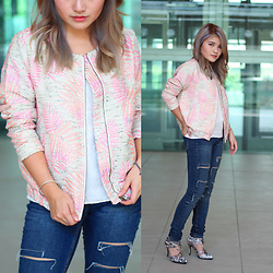 Sarah Mai - Mismash Pink Palm Printed Bomber Jacket, Zara Ripped Jeans, Mango White Camisole Top, Something Borrowed Lace Up Heels - Pink Bomber & Ripped Jeans