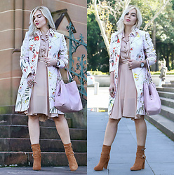 Scarlett Vargas - Coach Bag, Tony Bianco Boots, Ted Baker Coat - Florals for fall? Groundbreaking!