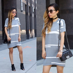 Sasa Zoe - Dress, Booties, Sunglasses, Choker, Bag - TRAVEL IN STYLE