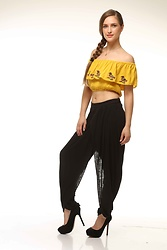 Nidhi.s - Shiflee Bare Shoulder Embroidery Top, Shiflee Drapped Pants - Travel in this comfy ...shop @shiflee