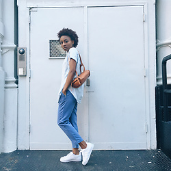 Nkenge Brown - Uniqlo Tailored Pant, Adidas Adida's Superstars - Fro Blues